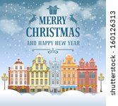 christmas vintage card with the ... | Shutterstock .eps vector #160126313