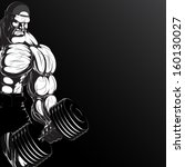 Illustration: a ferocious bodybuilder with dumbbell