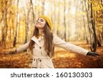 young woman enjoying nature at... | Shutterstock . vector #160130303