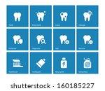 dental icons on blue background....