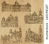 Old blueprint free vector art 6064 free downloads blueprint with spaceship places and architecture around the world set no9 collection of hand malvernweather Images