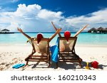 couple on a tropical beach at... | Shutterstock . vector #160210343