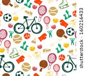 seamless pattern with sport... | Shutterstock .eps vector #160216433