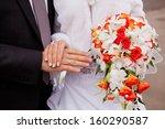 bride and groom hands with... | Shutterstock . vector #160290587