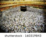 kaaba in mecca  muslim people... | Shutterstock . vector #160319843