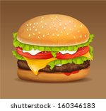 hamburger icon with meat ... | Shutterstock .eps vector #160346183
