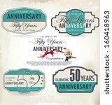 50 years anniversary retro... | Shutterstock .eps vector #160418963