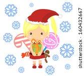 Vector Santa Girl Claus. Vecto...
