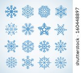Different blue snowflakes set