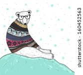 Christmas card with cute hipster polar bear. Bear with fair isle style sweater. - stock vector