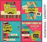 set of four hipster backgrounds ... | Shutterstock .eps vector #160463747