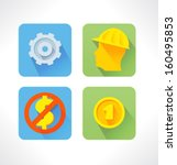 services set vector flat icon.