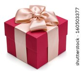 red gift box with golden ribbon ... | Shutterstock . vector #160503377