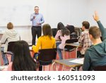 rear view of students... | Shutterstock . vector #160511093