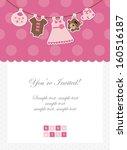 baby girl invitation  baby... | Shutterstock .eps vector #160516187