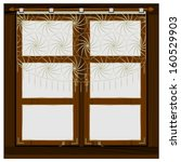 Old Wooden Window With Curtain...