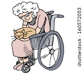 art,cat,citizen,clip,clipart,content,design,disabled,drawing,elderly,element,graphic,holding,illustration,isolated