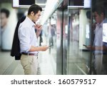 businessman looking at his... | Shutterstock . vector #160579517