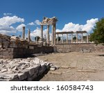 Small photo of Ruined old Greek city at Aeolis now known as Pergamum or Pergamon in Turkey