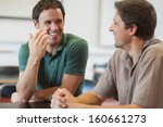 two friendly male mature... | Shutterstock . vector #160661273