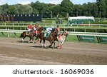 Small photo of SARATOGA SPRINGS - August 9: Alan Garcia aboard Mr. Universe along with Michael Luzzi aboard Bucky Came Home in the Post Parade before race Nine August 9, 2008 in Saratoga Springs, NY.