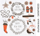 set of winter christmas icons ... | Shutterstock .eps vector #160694033