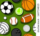 sport balls on green seamless... | Shutterstock .eps vector #160724813