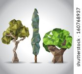 3 trees in origami style | Shutterstock .eps vector #160768937
