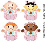 vector illustration 4 babies... | Shutterstock .eps vector #160773083