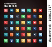 universal flat icon set for web ... | Shutterstock .eps vector #160813517