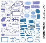 set of blue vector abstract... | Shutterstock .eps vector #160817297