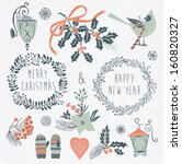 set of winter christmas icons ... | Shutterstock .eps vector #160820327
