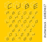 3d cube alphabet and number ... | Shutterstock .eps vector #160824617