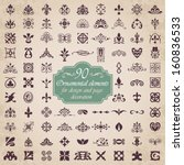90 Ornamental elements for design and page decoration | Shutterstock vector #160836533