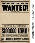 Vector vintage wanted poster template. All pieces are separated, including distressed overlays. - stock vector