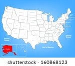 vector map of the united states ... | Shutterstock .eps vector #160868123