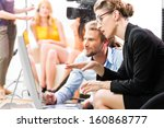 team or director discussing... | Shutterstock . vector #160868777