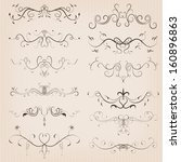 vintage calligraphic floral... | Shutterstock . vector #160896863