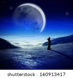 fantastic winter night... | Shutterstock . vector #160913417