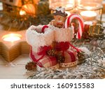 christmas retro boots in candle ...   Shutterstock . vector #160915583
