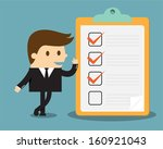 businessman with clipboard and... | Shutterstock .eps vector #160921043