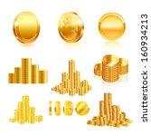 gold coin set. vector | Shutterstock .eps vector #160934213