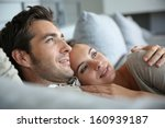 sweet in love couple dreaming... | Shutterstock . vector #160939187