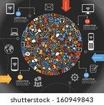 a modern set of infographics... | Shutterstock .eps vector #160949843