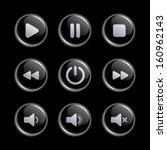media player glassy buttons... | Shutterstock .eps vector #160962143