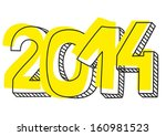 new year 2014 hand drawn sign... | Shutterstock . vector #160981523