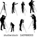 photographers silhouettes  ... | Shutterstock .eps vector #160988003