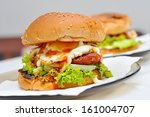 home made burger  | Shutterstock . vector #161004707