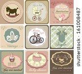 baby shower invitation set ... | Shutterstock .eps vector #161008487