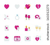 valentine's day icons with... | Shutterstock .eps vector #161012273
